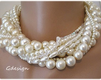 Bold Bridal Wedding Necklace , Handmade Necklace, Chunky Layered  Pearl Necklace, Swarovski Crystal , Layered Pearl Necklace