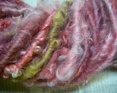 Handspun Hand Dyed Soft Curly Worsted Weight Cotswold Wool Art Yarn in Pink Shades with Gold by KnoxFarmFiber for Knit Weave Felt Crochet