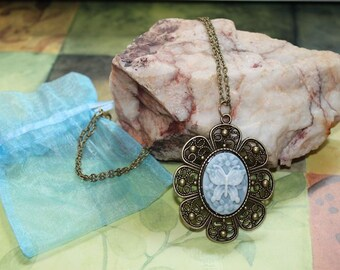 Blue Butterfly Victorian Cameo Pendant Necklace