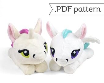 Unicorn Pegasus Merpony Kelpie Hippocampus Pony Horse Plush Sewing Pattern .pdf Tutorial