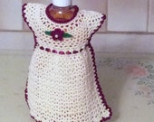 Custom Order for Crocheted Maroon and Cream Dish Soap Bottle Dress