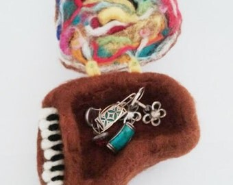 Jewelry Box, OOAK locket, needle felted art, jewelry storage, rings organizer, piano miniature, safe, piano art, gift for her, brown wool