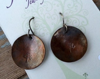Antique copper stamped earrings