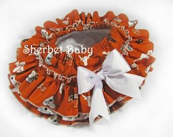 University of Texas Themed All Around Ruffle Diaper Cover Bloomer Skirt