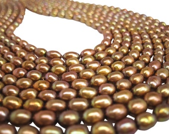 Copper Pearls, Copper Color Freshwater Pearls, Rice Shape, SKU 4731