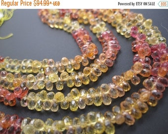SALE AAA Yellow Sapphire Beads Briolettes, Yellow and Orange Sapphire Beads, Faceted Teardrops, 3mm x 4mm, Multi Color Sapphire, SKU 3582