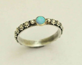 Opal ring,  silver engagement ring, flower ring, gemstone ring, bohemian ring, silver gold ring, unique ring for her - Your desire R1286