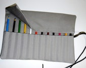 READY TO SHIP Gray Canvas 12-24 Pencil Roll Cozy Storage Case with Lid and Leather Ties