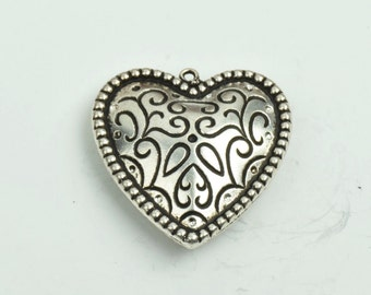 Heart Pendant, 2 sided 35mm width,  gold finish , 3/each 09513AS