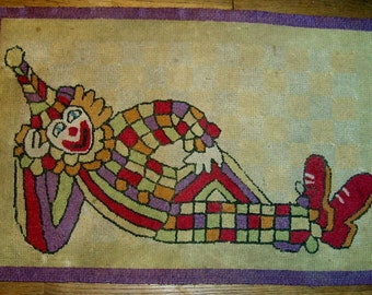 Circus Clown HOOKED RUG Mat Children's Toy Room old vintage antique handmade
