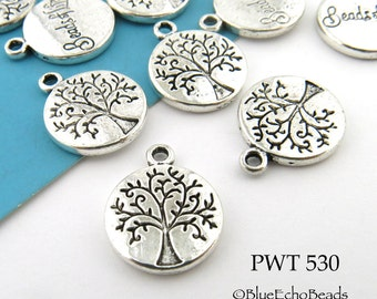 Small Tree of Life Charm Pewter 12mm (PWT 530) 14 pcs BlueEchoBeads