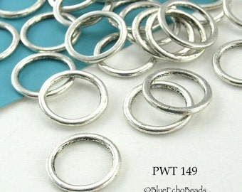 ON SALE 15mm Pewter Ring Connector Large Closed Jumpring (PWT 149) BlueEchoBeads 24 pcs
