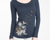 Women's Long Sleeve Dandelions T-Shirt, Midnight Blue with Dandelions and Birds in Flight, Gift for Her