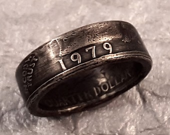 1979 Coin Ring Double Sided Liberty Year Quarter YOUR Size MR0705-TYR1979