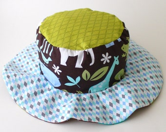 Toddler Wide Brim Sun Hat, Beach Wear, Animals and Dinos for Boys