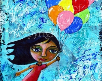 Carried Away 11 X 14 acrylic and paper on canvas, folk art, big-eyed girl flying with balloons, Mixed Media