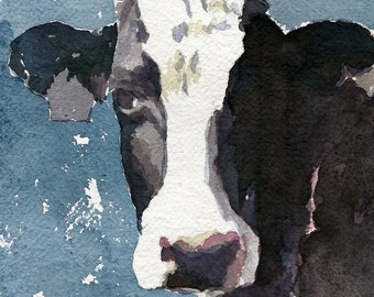 Cow Print Black and White Cow print in blue 8.5 x 11 paper size Cow print of original watercolor painting Cow art Holstein cow art