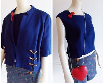 1960s cobalt blue Designer top and jacket / 60s gold brass button crop jacket/ mid century sleeveless short top jacket
