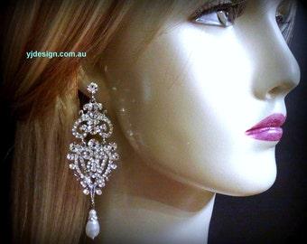Statement Bridal Earrings, Long Chandelier Wedding Earrings, Pearl Drop Earrings, Victorian Wedding Jewelry, Gift for Her, CHARLOTTE