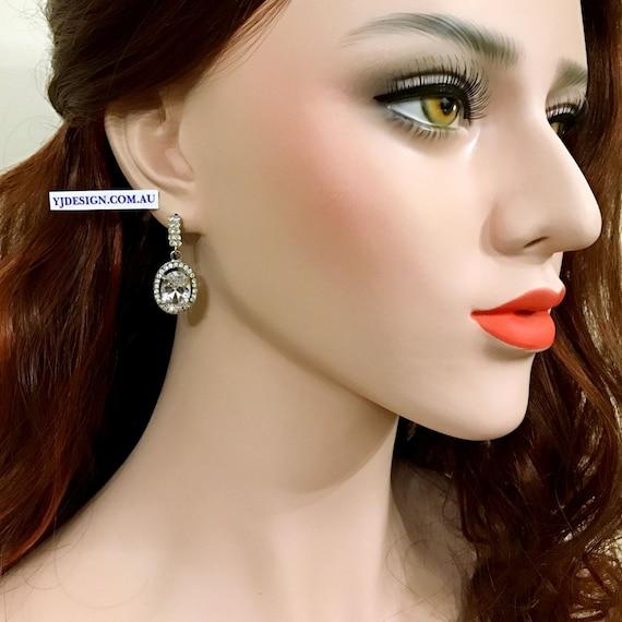 OVAL Bridal Earrings, Cz Wedding Earrings, Dangle Earrings, Drop Bridal Jewelry, Swarovski Crystal Wedding Jewelry, Serling Silver Posts