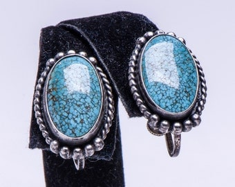 Early Navajo Earrings - 40s No. 8 Turquoise - Spiderweb - Sterling Screwbacks