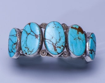 Vintage Cuff Bracelet - Navajo Natural Turquoise Row - 50g