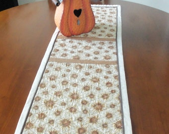 Fall Floral Table Runner,Autumn Quilted Table Topper,Handmade Fall Table Decor, Sunflower Tablecloth,Fall Aster Table Cloth,Quiltsy Handmade