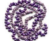 "Freshwater Pearls Lavender Keshi & Purple Top Drill, 2 Full 16"" Strands, Destash Lot #9"