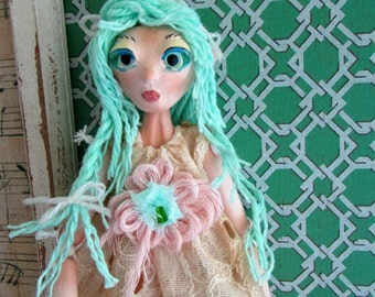 Elfin puppet art doll, doll ornament, handmade in the USA