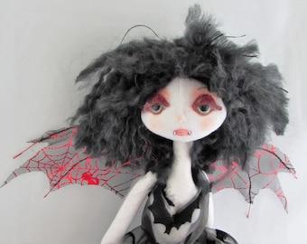 VAMPIRE,  The original soft sculpture Kaerie Faerie art doll, handmade in the USA
