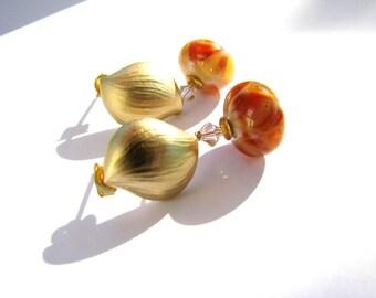 SALE, Apricot Lampwork Earrings, Orange Yellow, Brushed Gold Leaf Earrings, Sterling Silver Post, Contemporary Stud Earrings, Woman Gift