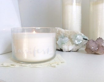 Manifest ECO soy candle infused with clear quartz crystals by Chelsy Anne