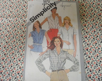 Simplicity 5172 Blouse Shirt Top Pattern Size 10 Bust 34  Vintage