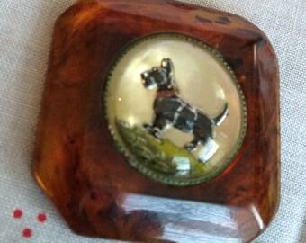 Bakelite Crystal Domed Scottie Button