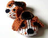 Wool Baby Basset Hound Puppy Dog Slippers, Crib Shoes, Booties