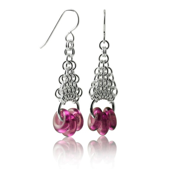 Amethyst Geometric Earrings with Sterling Silver Hand-Woven Chain Work Custom Handcrafted