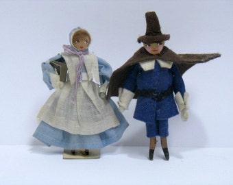 Pair Vintage Eubank Puritan Dolls Man & LAdy Hannibal, Missouri Folk Art Pilgrim Dolls