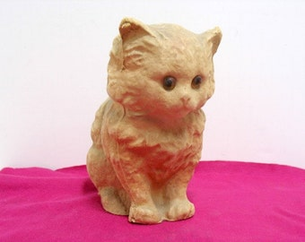 Vintage Paper Mache Kitty Cat Halloween Cat Antique Papier Mâché Cat Candy Conatiner