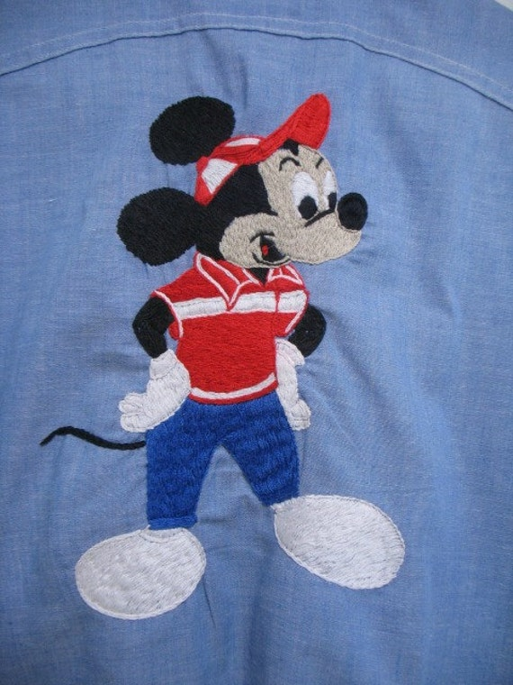 Vintage Big Yank Work Shirt, Blue w/ Mickey Mouse Embroidered Back, 60s Disney Work-mates Union Made Shirt