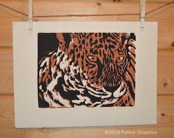 Jungle Cat Wood Block Print, Cat Print, Home Decor, Fine Art Print, Hand Printed, Wood Block print
