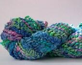 Berroco Monet Yarn . giverny 3363 . 49yd . bulky chunky thick thin lumpy bumpy slub coil art yarn . turquoise blue pink green . discontinued
