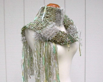 bonsai. knit scarf . vegan friendly scarf . handknit ribbon art yarn scarf . knit fringe scarf . mint moss green tea sand beige