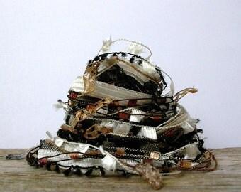 leopard print fiber effects™  art yarn bundle 12yd . specialty ribbons novelty yarn sampler pack . black cream bronze
