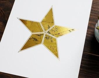 Star Distressed Gold Foil Print // 8x10 Housewarming Weathered Gold Print //