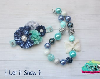 chunky necklace or baby headband set { Let It Snow } navy blue teal silver pearl necklace, Christmas, Winter, Snow Holiday photography prop