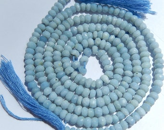 African Opal Gemstone.  Faceted Blue Rondelle  4mm  Semi Precious Gemstone.  Your Choice (fopl)