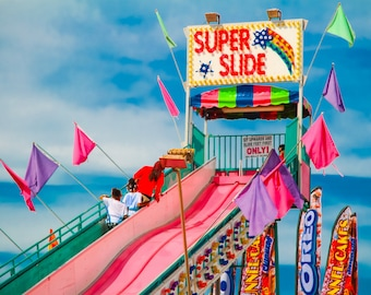 Super Slide Fine Art Print- Carnival Art, County Fair, Nursery Decor, Home Decor, Children, Baby, Kids