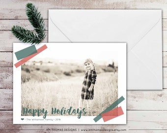 Personalized Photo Holiday Card - Christmas Photo Card - New Years Photo Card - Winter Holiday Card - Taped Photo - Green and Red - WH171