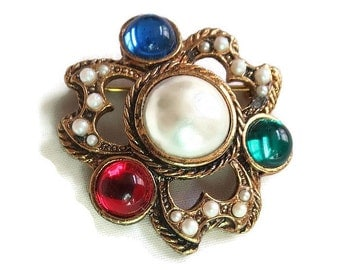 Vintage Faux Pearl and Glass Cabochons Brooch or Pin