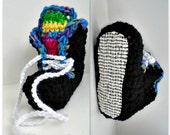 CROCHET PATTERN #929, Multicolor Sneaker Slippers, non slip soles, 2 yrs to adult XL, unisex style, boy, girls, men, women, adults, children